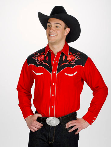 Red Retro Western Cowboy Shirt Embroidered Red Amp Black