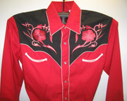 Red Embroidered Floral Design Shirt