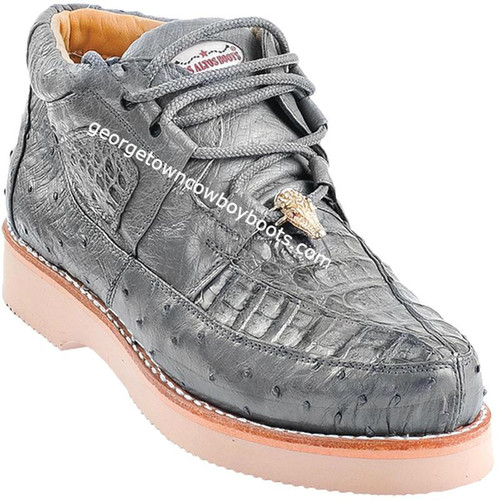 Men's Los Altos Caiman With Ostrich Casual Shoes Handcrafted ZA050209