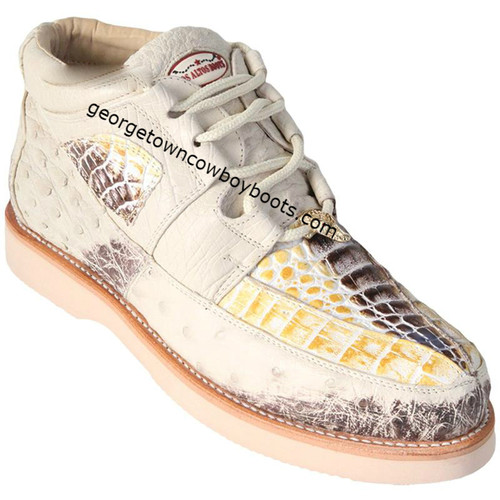 Men's Los Altos Caiman With Ostrich Casual Shoes Handcrafted ZA050249