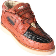 Men's Los Altos Caiman With Ostrich Casual Shoes Handcrafted ZA050258
