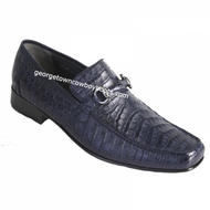 Men's Los Altos Navy Blue Crocodile Metal Bit Loafers ZV108210