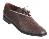 Men's Los Altos Brown Ostrich Cap Toe Shoe ZV09030