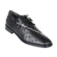 Men's Los Altos Black Ostrich Cap Toe Shoe ZV090305