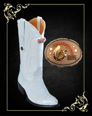 Caiman Tail Western Boots White
