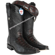 Men's Wild West Caiman Belly With Deer Cowboy Boots Square Toe Handcrafted 278T8218