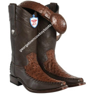 Men's Wild West Ostrich With Deer Square Toe Boots Handcrafted 278T0307