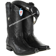 Men's Wild West Ostrich Leg With Deer Square Toe Boots Handmade 278T0505