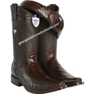 Men's Wild West Ostrich Leg With Deer Square Toe Boots Handmade 278T0507