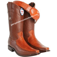 Men's Wild West Ostrich Leg With Deer Square Toe Boots Handmade 278T0503
