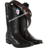 Men's Wild West Ostrich Leg With Deer Square Toe Boots Handmade 278T0518