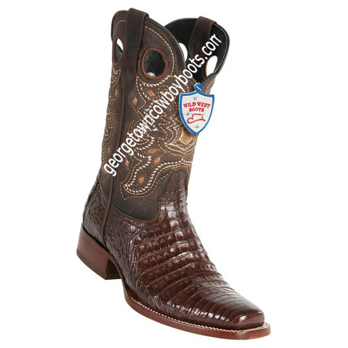 Men's Wild West Square Toe Caiman Belly Boots Handcrafted 28188207