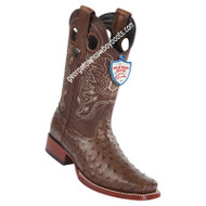 Men's Wild West Full Quill Ostrich Square Toe Boots Handmade 28180307