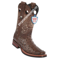 Men's Wild West Full Quill Ostrich Square Toe Rubber Sole Boots 28190307