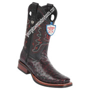 Men's Wild West Full Quill Ostrich Square Toe Rubber Sole Boots 28190318