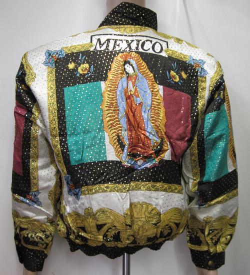 Silk Bomber Jacket Our Lady of GUADALUPE amp Mexican Flag