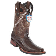 Men's Wild West Ostrich Leg Square Toe Rubber Sole Boots 28190507