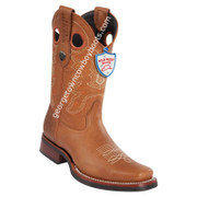 Men's Wild West Grisly Leather Square Toe Rubber Sole Boots 28192751