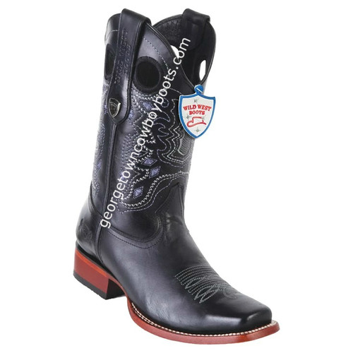 Men's Wild West Boots Genuine Leather Square Toe Handcrafted 28183805