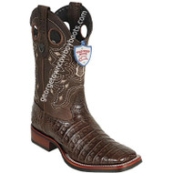 Men's Wild West Caiman Belly Boots Wide Square Toe Rubber Sole Handcrafted 28258207