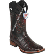 Men's Wild West Caiman Belly Boots Wide Square Toe Rubber Sole Handcrafted 28258218