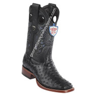 Men's Wild West Full Quill Ostrich Boots Wide Square Toe Handmade 28240305