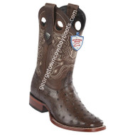 Men's Wild West Full Quill Ostrich Boots Wide Square Toe Handmade 28240307