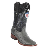 Men's Wild West Full Quill Ostrich Boots Wide Square Toe Handmade 28240309