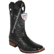 Men's Wild West Full Quill Ostrich Boots With Rubber Sole Wide Square Toe 28250305