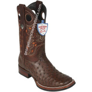 Men's Wild West Full Quill Ostrich Boots With Rubber Sole Wide Square Toe Handcrafted 28250307