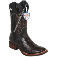 Men's Wild West Full Quill Ostrich Boots With Rubber Sole Wide Square Toe Handcrafted 28250318