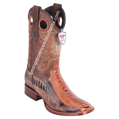 Men's Wild West Ostrich Leg Boots Square Toe Handmade 28240588