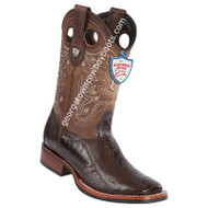 Men's Wild West Ostrich Leg Wide Square Toe Rubber Sole Boots 28250507