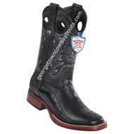 Men's Wild West Ostrich Leg Wide Square Toe Rubber Sole Boots 28250505