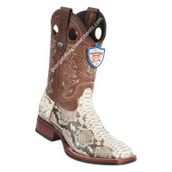 Men's Wild West Python Wide Square Toe Rubber Sole Boots Handcrafted 28255749