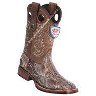 Men's Wild West Python Wide Square Toe Rubber Sole Boots Handcrafted 28255785