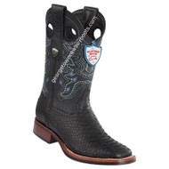 Men's Wild West Python Wide Square Toe Rubber Sole Boots Handcrafted 2825G5705