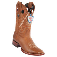 Men's Wild West Grisly Leather Wide Square Toe Boots Handmade 28242751