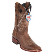 Men's Wild West Grisly Leather Wide Square Toe Boots Handmade 28242707