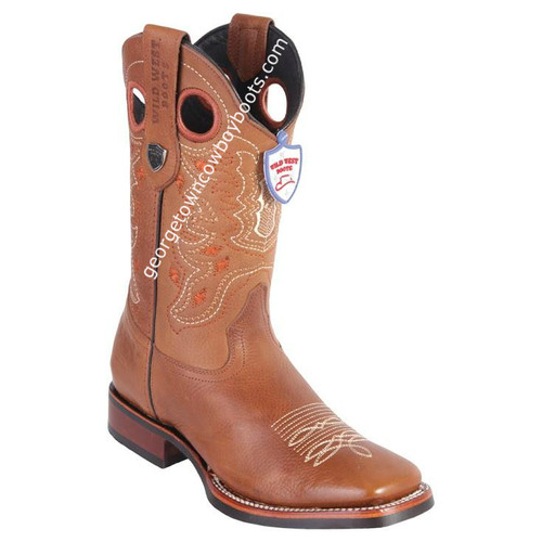 Men's Wild West Boots With Rubber Sole Genuine Leather Square Toe Handcrafted 28252751