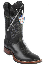 Men's Wild West Boots With Rubber Sole Genuine Leather Square Toe Handcrafted 28253805