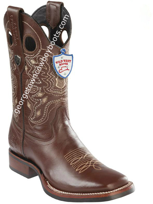 Men's Wild West Boots With Rubber Sole Genuine Leather Square Toe Handcrafted 28253807