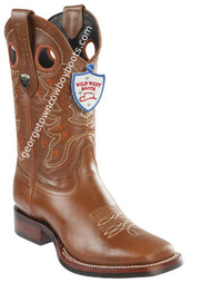 Men's Wild West Boots With Rubber Sole Genuine Leather Square Toe Handcrafted 28253851