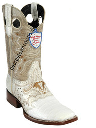 Men's Wild West Caiman Belly Wide Square Toe Boots Handcrafted 282TC8228