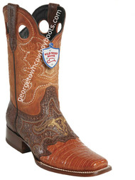 Men's Wild West Caiman Belly Wide Square Toe Boots Handcrafted 281TC8203
