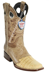 Men's Wild West Caiman Belly Wide Square Toe Boots Handcrafted 281TC8211