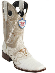 Men's Wild West Caiman Belly Wide Square Toe Boots Handcrafted 281TC8228