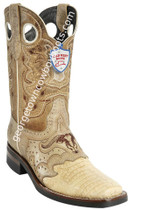 Men's Wild West Caiman Belly Boots With Rubber Sole Square Toe Handcrafted 281TH8211