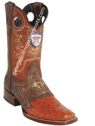 Men's Wild West Ostrich Wide Square Toe Boots Handcrafted 281TC0303