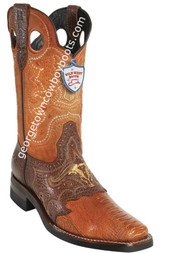 Men's Wild West Ostrich Leg Boots With Rubber Sole Square Toe Handcrafted 281TH0503